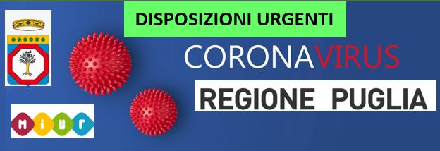 DISPOSIZIONI URGENTI del presidente della Regione Puglia in materia di prevenzione del coronavirus