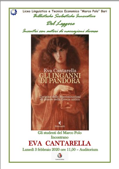 """INCONTRO CON L'AUTORE: gli studenti del Marco Polo dialogano con Eva Cantarella con """"Gli inganni di Pandora"""""""