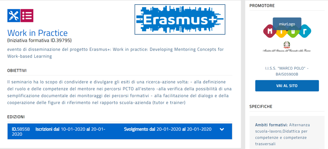 "EVENTO DI DISSEMINAZIONE DEL PROGETTO ERASMUS+ ""WORK IN PRACTICE: DEVELOPING MENTORING CONCEPTS FOR WORK-BASED LEARNING"""