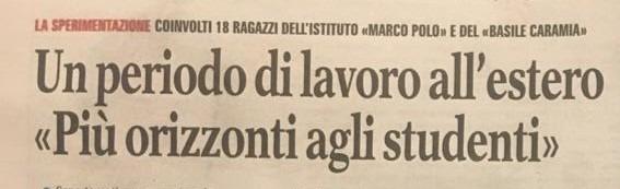"""ARTICOLO DALLA """"GAZZETTA DEL MEZZOGIORNO"""" 27/01/2020: ESPERIENZA ERASMUS DEGLI STUDENTI DEL MARCO POLO"""