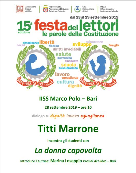 """FESTA DEI LETTORI 28 settembre 2019: Titti Marrone incontra gli studenti con """"La donna capovolta"""""""