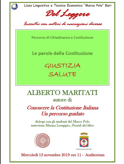 PERCORSO DI CITTADINANZA E COSTITUZIONE:gli alunni del Marco Polo incontrano Alberto Maritati
