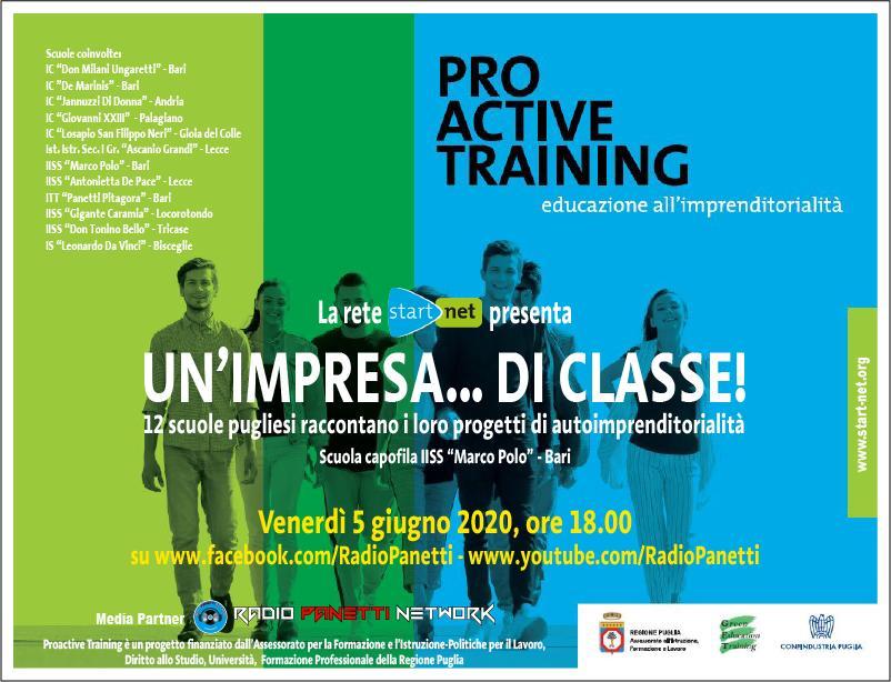 PRO ACTIVE TRAINING- UN'IMPRESA…. DI CLASSE venerdi 5 giugno 2020 ore 18